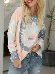 Color=Grey | Fashion Long Sleeves Tie-Dye Shirts With Spiral Pattern-Grey 5