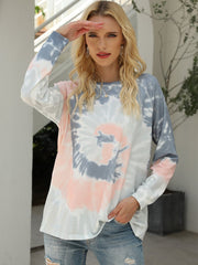 Color=Grey | Fashion Long Sleeves Tie-Dye Shirts With Spiral Pattern-Grey 2