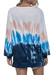 Color=Sky Blue | Adorable Long Sleeves Round Neckline Tie Dye Shirt-Sky Blue 2