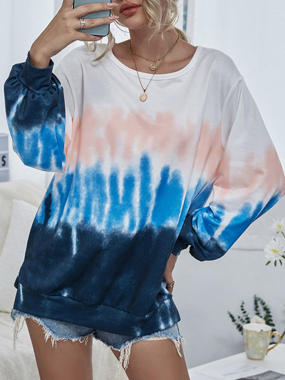 Color=Sky Blue | Adorable Long Sleeves Round Neckline Tie Dye Shirt-Sky Blue 1
