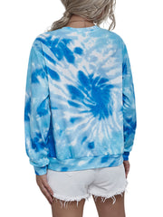 Color=Sky Blue | Stylish Casual Tie Dye Long Sleeves Shirt For Women-Sky Blue 2