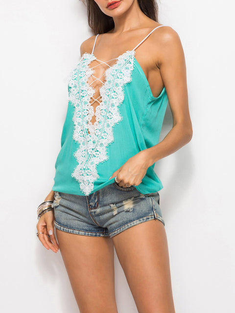 Color=Green | Comfy Deep V-Neck Spaghetti Straps Tank Top With Lace And Strings-Green 4