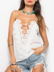 Color=White | Comfy Deep V-Neck Spaghetti Straps Tank Top With Lace And Strings-White 4