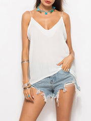 Color=White | Comfy Deep V-Neck Spaghetti Straps Tank Top With Lace And Strings-White 1