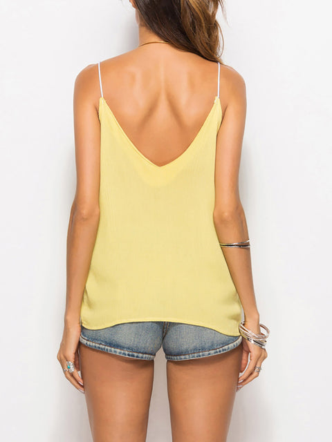 Color=Yellow | Comfy Deep V-Neck Spaghetti Straps Tank Top With Lace And Strings-Yellow 2