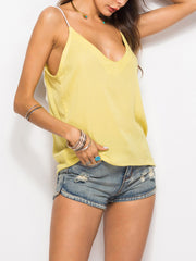 Color=Yellow | Comfy Deep V-Neck Spaghetti Straps Tank Top With Lace And Strings-Yellow 3
