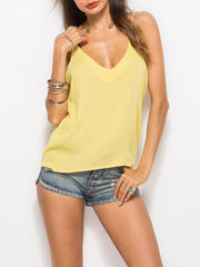 Color=Yellow | Comfy Deep V-Neck Spaghetti Straps Tank Top With Lace And Strings-Yellow 4