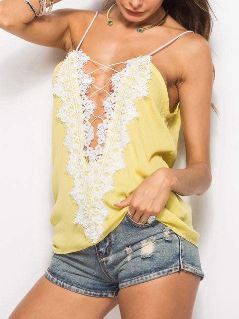 Color=Yellow | Comfy Deep V-Neck Spaghetti Straps Tank Top With Lace And Strings-Yellow 1