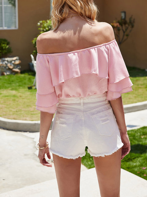 Color=Pink | Women'S Charming Off-Shoulders Crop Top With Layered Sleeves-Pink 2