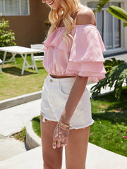 Color=Pink | Women'S Charming Off-Shoulders Crop Top With Layered Sleeves-Pink 3