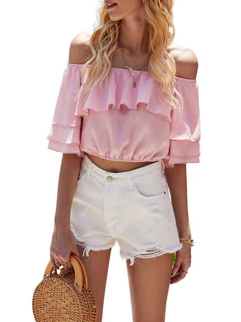 Color=Pink | Women'S Charming Off-Shoulders Crop Top With Layered Sleeves-Pink 1