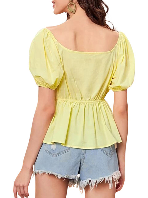 Color=Yellow | Sweet Short Bishop Sleeves Blouses With Lotus Leaf Hem-Yellow 2