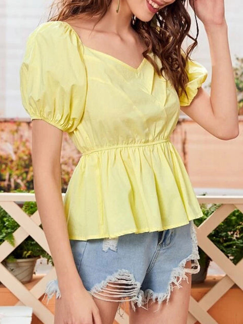 Color=Yellow | Sweet Short Bishop Sleeves Blouses With Lotus Leaf Hem-Yellow 3