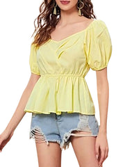 Color=Yellow | Sweet Short Bishop Sleeves Blouses With Lotus Leaf Hem-Yellow 1