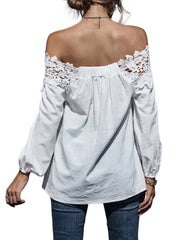 Color=White | Classy Off-Shoulder Long Sleeves Blouses With Floral Lace-White 2