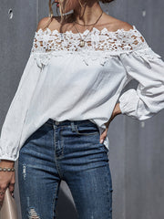 Color=White | Classy Off-Shoulder Long Sleeves Blouses With Floral Lace-White 3