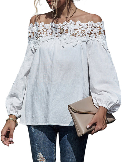 Color=White | Classy Off-Shoulder Long Sleeves Blouses With Floral Lace-White 1