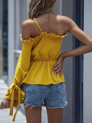 Color=Yellow | Unique One Shoulder & Long Sleeves Blouses With Ruffles Neckline-Yellow 2