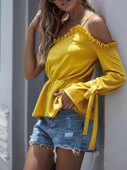 Color=Yellow | Unique One Shoulder & Long Sleeves Blouses With Ruffles Neckline-Yellow 3