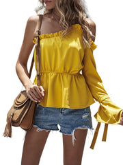 Color=Yellow | Unique One Shoulder & Long Sleeves Blouses With Ruffles Neckline-Yellow 1