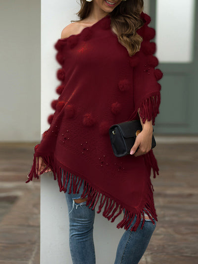 Color=Burgundy | Women'S Knitwears Sweater Cloak With Tassel & Wool Ball Decorations-Burgundy 1