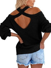 Color=Black | Sexy Off-Shoulder Lantern Sleeves Solid Color Loose Knitwears-Black 2