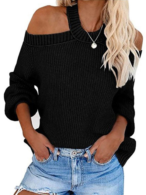 Color=Black | Sexy Off-Shoulder Lantern Sleeves Solid Color Loose Knitwears-Black 1