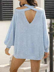 Color=Sky Blue | Sexy Off-Shoulder Lantern Sleeves Solid Color Loose Knitwears-Sky Blue 2