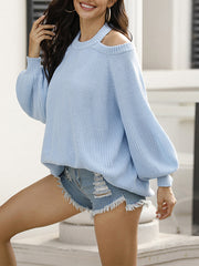 Color=Sky Blue | Sexy Off-Shoulder Lantern Sleeves Solid Color Loose Knitwears-Sky Blue 3