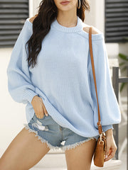Color=Sky Blue | Sexy Off-Shoulder Lantern Sleeves Solid Color Loose Knitwears-Sky Blue 1