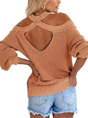 Color=Brown | Sexy Off-Shoulder Lantern Sleeves Solid Color Loose Knitwears-Brown 2