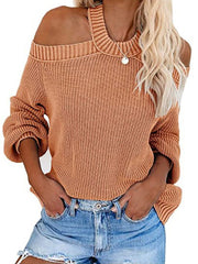 Color=Brown | Sexy Off-Shoulder Lantern Sleeves Solid Color Loose Knitwears-Brown 1