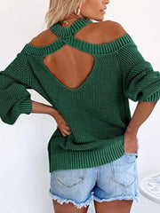 Color=Dark Green | Sexy Off-Shoulder Lantern Sleeves Solid Color Loose Knitwears-Dark Green 2