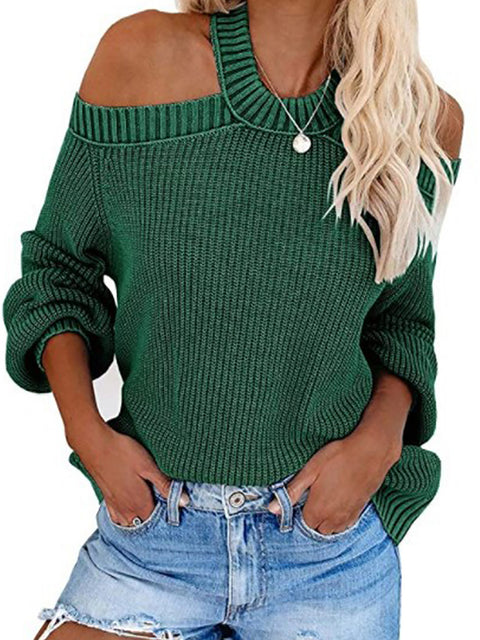 Color=Dark Green | Sexy Off-Shoulder Lantern Sleeves Solid Color Loose Knitwears-Dark Green 1