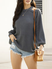 Color=Grey | Sexy Off-Shoulder Lantern Sleeves Solid Color Loose Knitwears-Grey 1