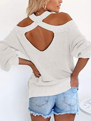 Color=White | Sexy Off-Shoulder Lantern Sleeves Solid Color Loose Knitwears-White 2