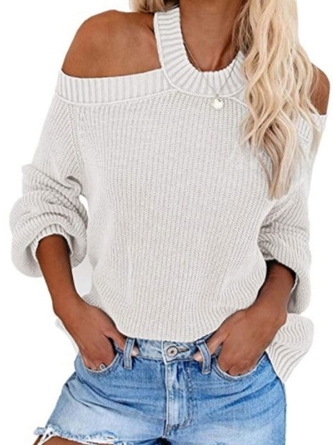 Color=White | Sexy Off-Shoulder Lantern Sleeves Solid Color Loose Knitwears-White 1