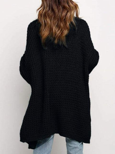 Color=Black | Gorgeous Solid Color Open Front Knitwears With Long Baggy Sleeves-Black 4