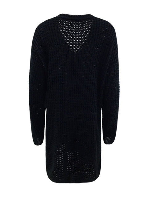 Color=Black | Gorgeous Solid Color Open Front Knitwears With Long Baggy Sleeves-Black 6