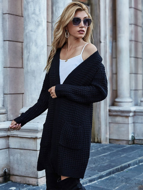 Color=Black | Gorgeous Solid Color Open Front Knitwears With Long Baggy Sleeves-Black 2