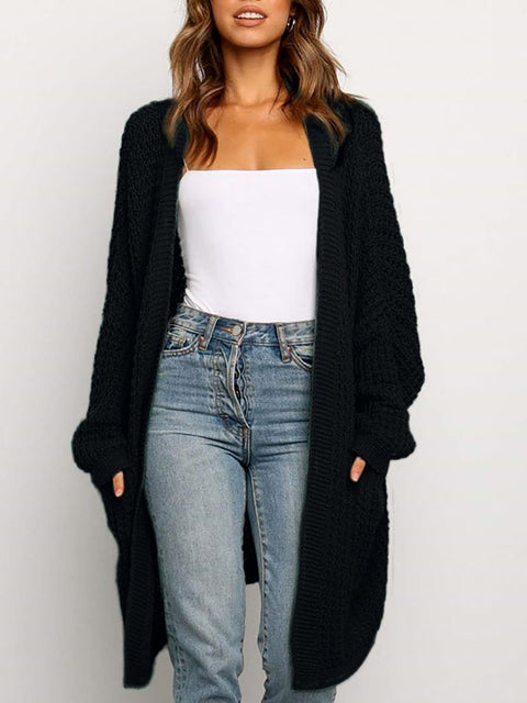 Color=Black | Gorgeous Solid Color Open Front Knitwears With Long Baggy Sleeves-Black 3