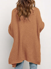 Color=Brown | Gorgeous Solid Color Open Front Knitwears With Long Baggy Sleeves-Brown 2