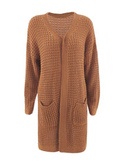 Color=Brown | Gorgeous Solid Color Open Front Knitwears With Long Baggy Sleeves-Brown 3