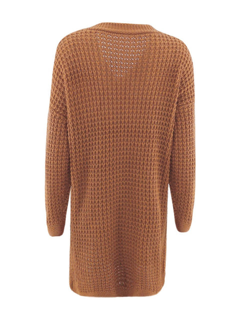 Color=Brown | Gorgeous Solid Color Open Front Knitwears With Long Baggy Sleeves-Brown 4