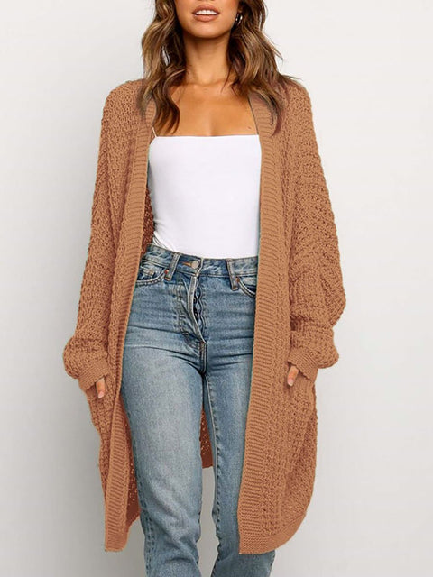 Color=Brown | Gorgeous Solid Color Open Front Knitwears With Long Baggy Sleeves-Brown 1