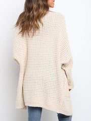 Color=Cream | Gorgeous Solid Color Open Front Knitwears With Long Baggy Sleeves-Cream 3
