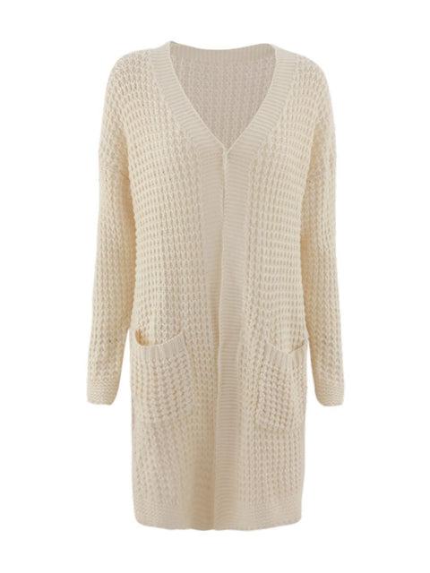 Color=Cream | Gorgeous Solid Color Open Front Knitwears With Long Baggy Sleeves-Cream 4