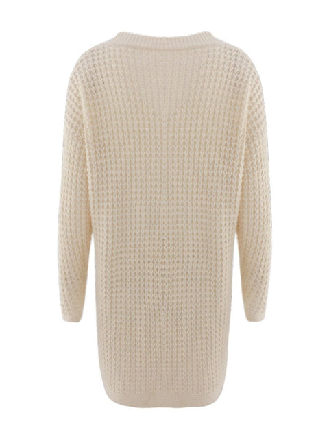 Color=Cream | Gorgeous Solid Color Open Front Knitwears With Long Baggy Sleeves-Cream 5