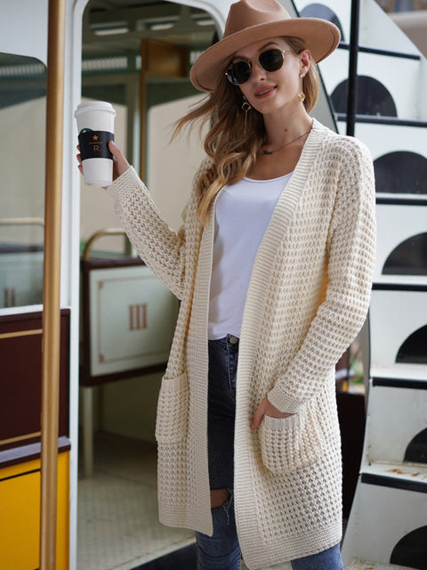 Color=Cream | Gorgeous Solid Color Open Front Knitwears With Long Baggy Sleeves-Cream 1