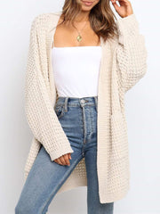 Color=Cream | Gorgeous Solid Color Open Front Knitwears With Long Baggy Sleeves-Cream 2